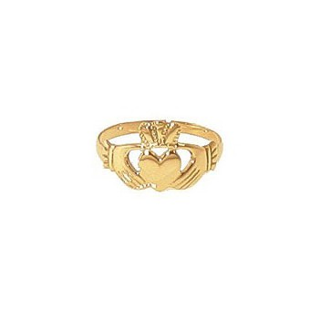 9ct Yellow Gold Plain Ladies Claddagh Ring