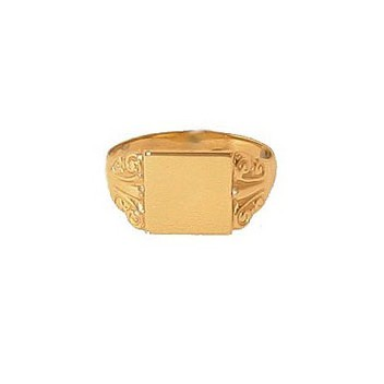9ct Yellow Gold Plain Square Signet Ring