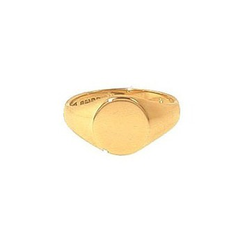9ct Yellow Gold Plain Heavy Oval Ladies Signet Ring