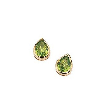 9ct Yellow Gold Peridot Teardrop Earrings