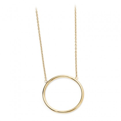 9ct Yellow Gold Open Circular Pendant Necklace
