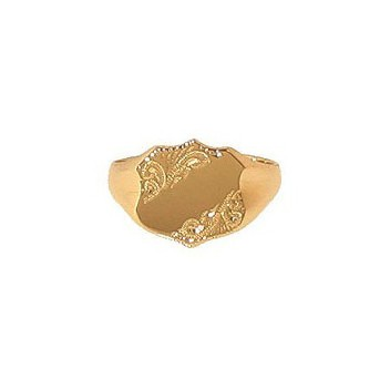 9ct Yellow Gold Gentlemans Engraved Shield Signet Ring