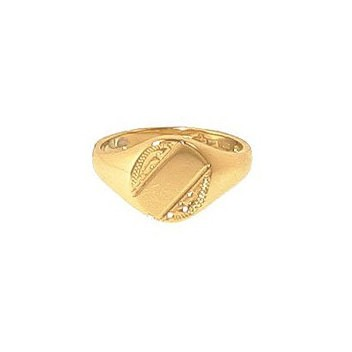 9ct Yellow Gold Ladies Engraved Heavy Oval Signet Ring