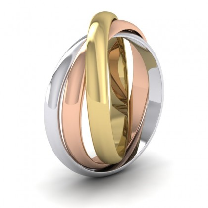9ct Yellow, White and Rose Gold 3mm 'D' Shape Three Colour Wedding Ring