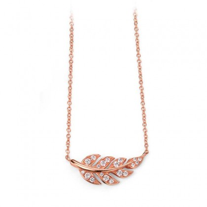 Sterling Silver, Rose Gold Plated Leaf Necklace Set With Cubic Zirconia.