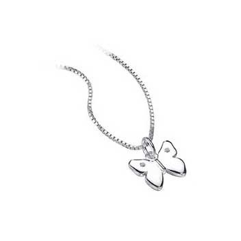 925 Sterling Silver Diamond Butterfly Pendant and Chain Necklace