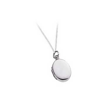 925 Sterling Silver Oval Locket Pendant and Chain