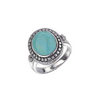 925 Sterling Silver Imitation Turquoise Ring