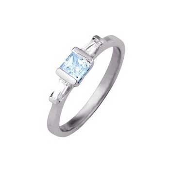 950 Platinum Three Stone Aquamarine and Diamond Ring