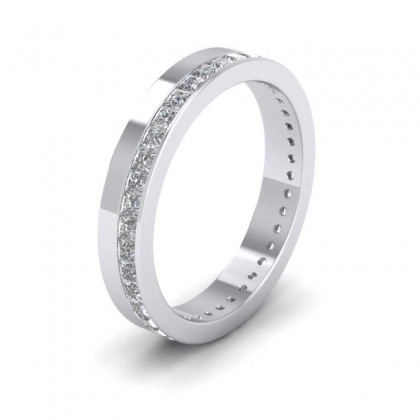 950 Platinum 3.5mm Flat Shape Forty Two Stone Diamond Wedding Ring