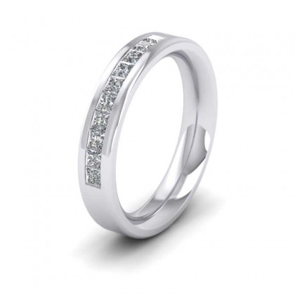 950 Platinum 4mm Flat Court Shape Ten Stone Diamond Wedding Ring