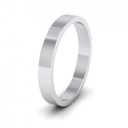 950 Platinum 3mm Flat Shape Extra Heavy Weight Wedding Ring