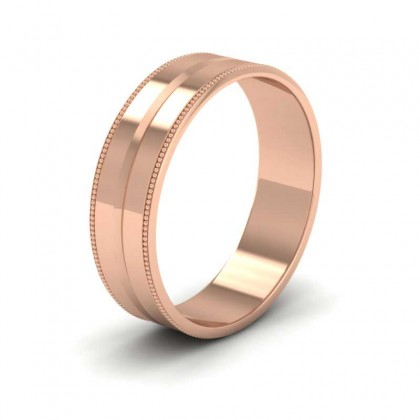 Millgrain And Line Pattern 9ct Rose Gold 6mm Flat Wedding Ring