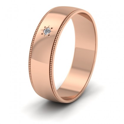 Millgrained Edge And Single Star Diamond Set 9ct Rose Gold 6mm Wedding Ring