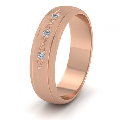 Three Diamond Set 9ct Rose Gold 6mm Wedding Ring With Lines