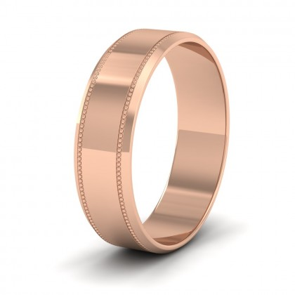 Bevelled Edge And Millgrain Pattern 9ct Rose Gold 6mm Flat Wedding Ring