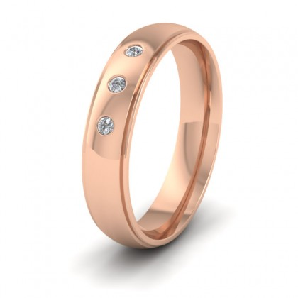 Line Pattern And Three Diamond Set 9ct Rose Gold 5mm Wedding Ring