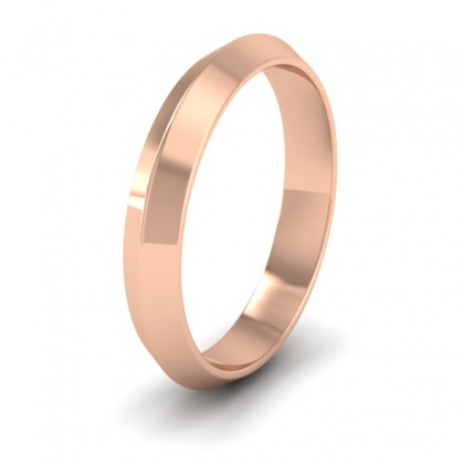 Knife Edge Shape 9ct Rose Gold 4mm Wedding Ring