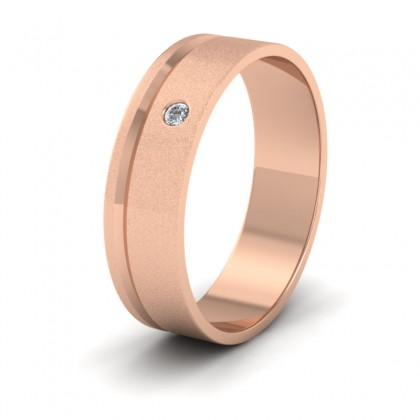 Diamond Set And Assymetric Line Patterned 9ct Rose Gold 6mm Wedding Ring