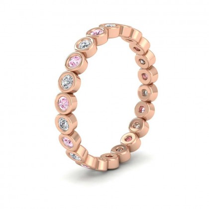 Pink Sapphire And Diamond Ring 9ct Rose Gold 2.5mm Wedding Ring