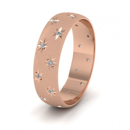 Star And Diamond Set 9ct Rose Gold 6mm Wedding Ring