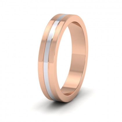 Triple Band Two Colour 9ct Rose And White Gold 4mm Wedding Ring