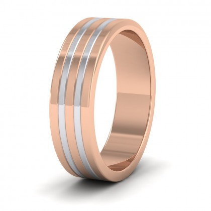 Five Band Two Colour 9ct Rose And White Gold 6mm Wedding Ring