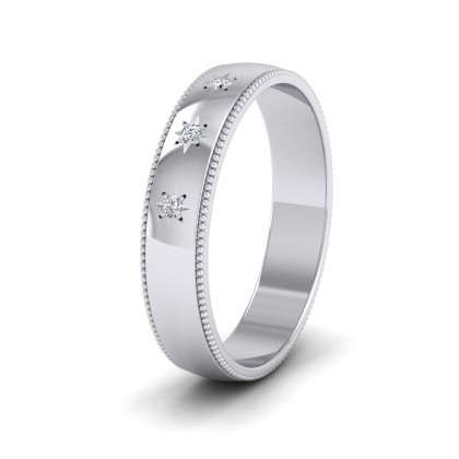Millgrained Edge And Three Star Diamond Set 9ct White Gold 4mm Wedding Ring