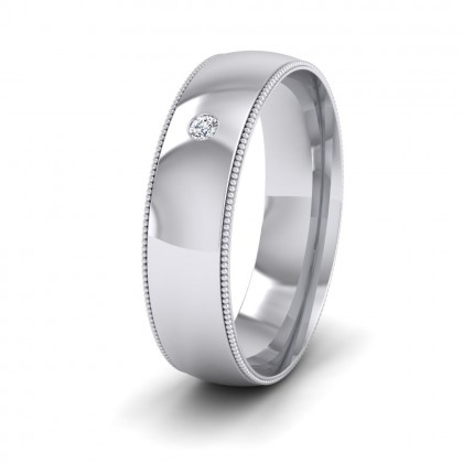 single flush diamond set and millgrain edge 9ct white gold 6mm wedding ring - Wedding Rings For Him