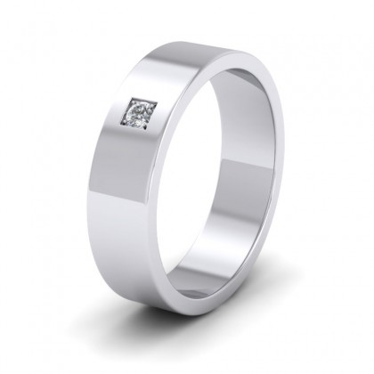 Single Diamond With Square Setting 9ct White Gold 6mm Wedding Ring