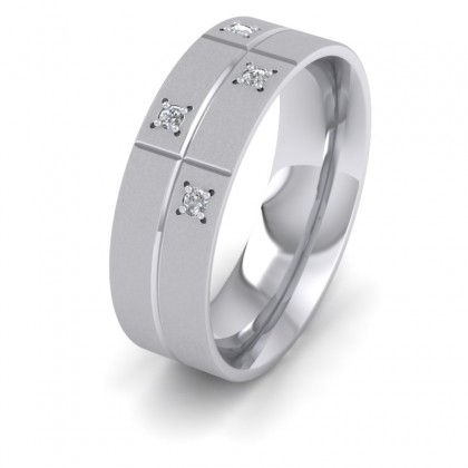 Cross Line Patterned And Diamond Set 9ct White Gold 7mm Flat Comfort Fit Wedding Ring
