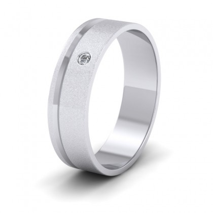 Diamond Set And Assymetric Line Patterned 9ct White Gold 6mm Wedding Ring