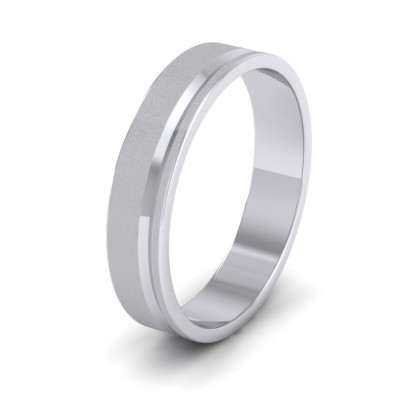 Assymetric Line Pattern 950 Platinum 4mm Flat Wedding Ring