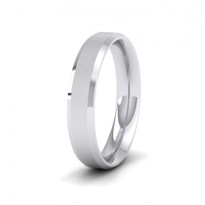 Bevelled Edge And Matt Finish Centre Flat Sterling Silver 4mm Wedding Ring