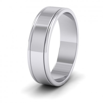 Rounded Edge Grooved Pattern Flat 950 Platinum 6mm Flat Wedding Ring