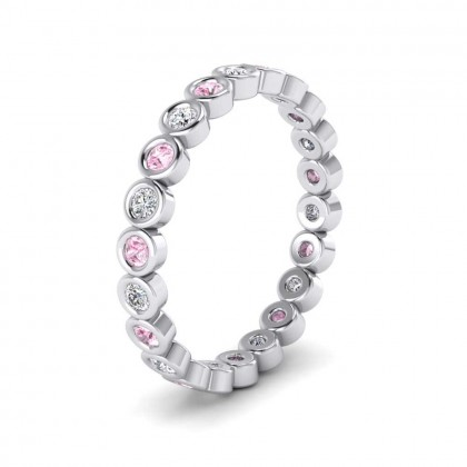 Pink Sapphire And Diamond Ring 950 Platinum 2.5mm Wedding Ring