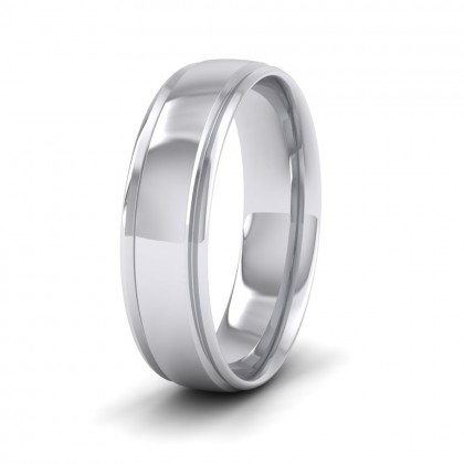 Edge Line Patterned 9ct White Gold 6mm Wedding Ring