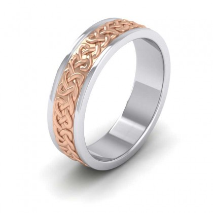 Celtic Patterned Two Colour Flat 950 Palladium 6mm Wedding Ring