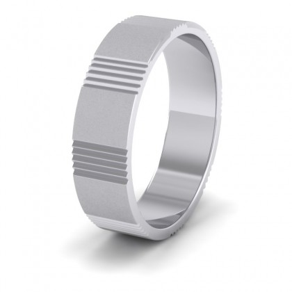 Across Groove Pattern 950 Platinum 6mm Flat Wedding Ring