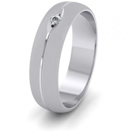 Diamond Set And Centre Line Pattern 9ct White Gold 6mm Wedding Ring