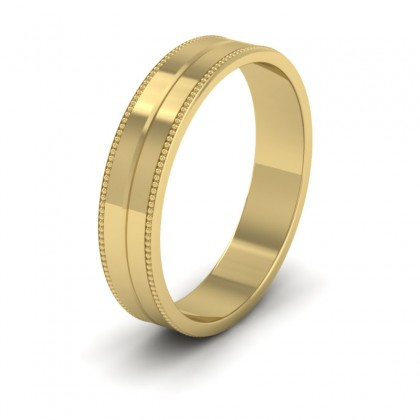 Millgrain And Line Pattern 9ct Yellow Gold 4mm Flat Wedding Ring
