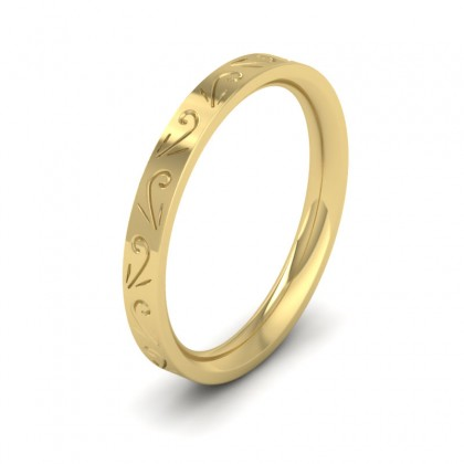 Engraved Flat 9ct Yellow Gold 2.5mm Wedding Ring
