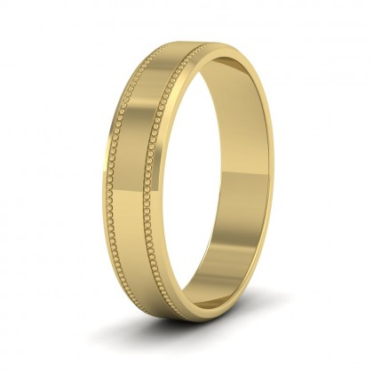 Bevelled Edge And Millgrain Pattern 9ct Yellow Gold 4mm Flat Wedding Ring