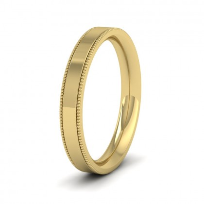 Millgrain Edge 9ct Yellow Gold 3mm Flat Comfort Fit Wedding Ring