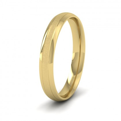 Line Pattern With Shiny And Matt Finish 9ct Yellow Gold 3mm Wedding Ring