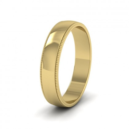 Millgrained Edge 9ct Yellow Gold 4mm Wedding Ring
