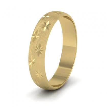 Star Patterned 9ct Yellow Gold 4mm Wedding Ring