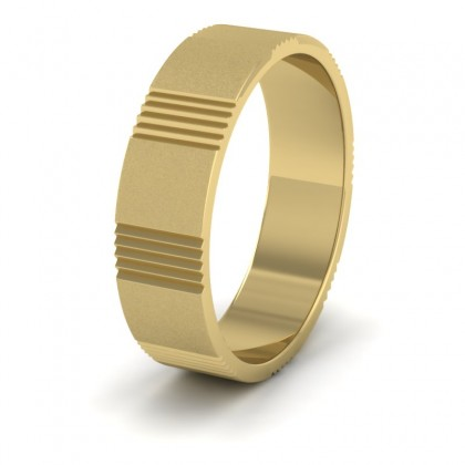 Across Groove Pattern 9ct Yellow Gold 6mm Flat Wedding Ring