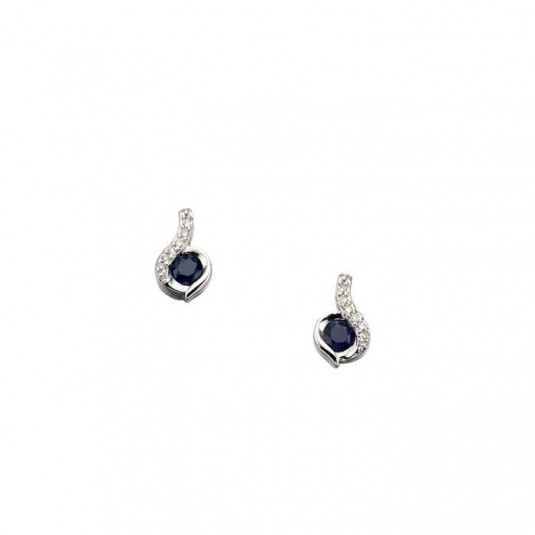 9ct White Gold Earrings Set With Blue Sapphire And Diamond