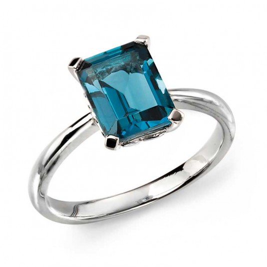 9ct White Gold Ring Set With London Blue Topaz